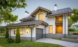 rappresentazione 3d della casa accogliente moderna nello stile del chalet Fotografia Stock Libera da Diritti