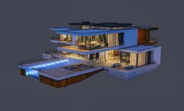 rappresentazione 3d della casa moderna alla notte isolata su gray Fotografia Stock Libera da Diritti
