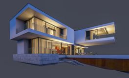 rappresentazione 3d della casa moderna alla notte isolata su gray Immagine Stock Libera da Diritti