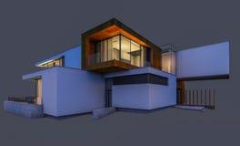 rappresentazione 3d della casa moderna alla notte isolata su gray Fotografia Stock