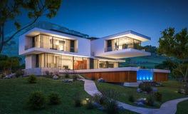 rappresentazione 3d della casa moderna dal fiume Immagini Stock
