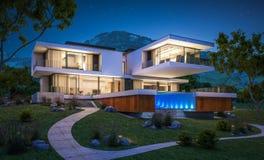 rappresentazione 3d della casa moderna dal fiume Immagine Stock