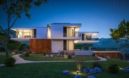 rappresentazione 3d della casa moderna dal fiume Fotografia Stock Libera da Diritti