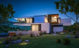 rappresentazione 3d della casa moderna dal fiume Immagini Stock Libere da Diritti