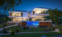 rappresentazione 3d della casa moderna dal fiume Fotografie Stock Libere da Diritti