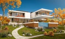 rappresentazione 3d della casa moderna dal fiume Immagine Stock Libera da Diritti