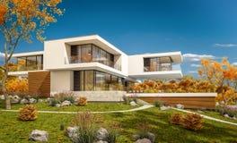 rappresentazione 3d della casa moderna dal fiume Fotografie Stock