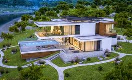rappresentazione 3d della casa moderna dal fiume alla sera Immagini Stock Libere da Diritti
