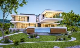rappresentazione 3d della casa moderna dal fiume alla sera Fotografia Stock Libera da Diritti
