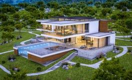 rappresentazione 3d della casa moderna dal fiume alla sera Fotografia Stock