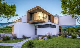 rappresentazione 3d della casa moderna dal fiume alla sera Fotografie Stock