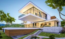 rappresentazione 3d della casa moderna dal fiume alla sera Immagine Stock Libera da Diritti
