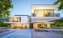 rappresentazione 3d della casa moderna dal fiume alla sera Fotografie Stock Libere da Diritti