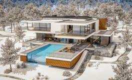 rappresentazione 3d della casa moderna dal fiume nell'inverno fotografia stock