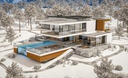 rappresentazione 3d della casa moderna dal fiume nell'inverno fotografie stock