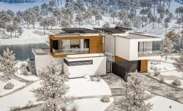 rappresentazione 3d della casa moderna dal fiume nell'inverno fotografia stock libera da diritti