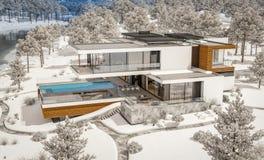 rappresentazione 3d della casa moderna dal fiume nell'inverno immagine stock libera da diritti