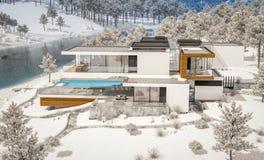 rappresentazione 3d della casa moderna dal fiume nell'inverno immagini stock libere da diritti