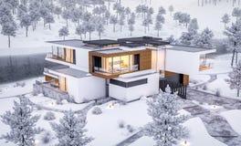 rappresentazione 3d della casa moderna dal fiume nell'inverno fotografie stock libere da diritti