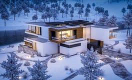 rappresentazione 3d della casa moderna dal fiume nella notte di inverno fotografia stock libera da diritti