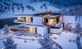 rappresentazione 3d della casa moderna dal fiume nella notte di inverno immagini stock libere da diritti