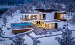 rappresentazione 3d della casa moderna dal fiume nella notte di inverno fotografia stock