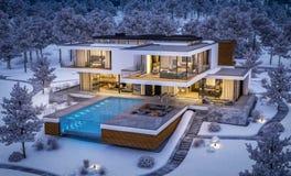 rappresentazione 3d della casa moderna dal fiume nella notte di inverno fotografie stock