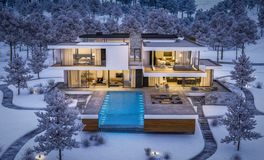 rappresentazione 3d della casa moderna dal fiume nella notte di inverno fotografie stock libere da diritti
