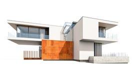 rappresentazione 3d della casa moderna isolata su bianco Immagine Stock Libera da Diritti