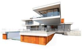 rappresentazione 3d della casa moderna isolata su bianco Immagini Stock Libere da Diritti