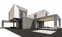 rappresentazione 3d della casa moderna isolata su bianco Immagini Stock