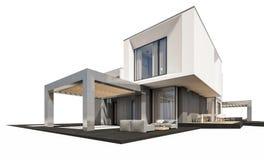 rappresentazione 3d della casa moderna isolata su bianco Immagine Stock