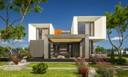 rappresentazione 3d della casa moderna nel giardino Fotografia Stock Libera da Diritti