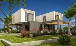 rappresentazione 3d della casa moderna nel giardino Immagine Stock