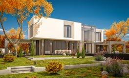 rappresentazione 3d della casa moderna nel giorno soleggiato lear di autunno del  del giardino Ñ Fotografie Stock
