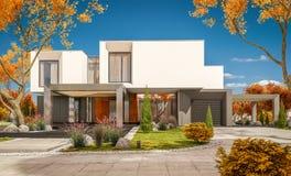 rappresentazione 3d della casa moderna nel giorno soleggiato lear di autunno del  del giardino Ñ Immagini Stock