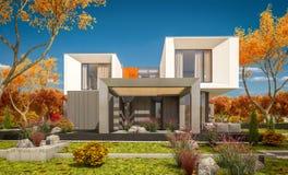 rappresentazione 3d della casa moderna nel giorno soleggiato lear di autunno del  del giardino Ñ Immagine Stock Libera da Diritti