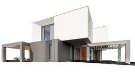 rappresentazione 3d della casa moderna nel giorno soleggiato lear di autunno del  del giardino Ñ Fotografia Stock