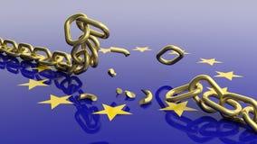 rappresentazione 3D della catena scatenata contro della bandiera dell'Eu Immagine Stock