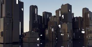 rappresentazione 3D della città cyber dei bassifondi, st del magazzino di notte dello spazio illustrazione di stock