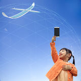 rappresentazione 3D della comunicazione 5G con fondo piacevole Fotografia Stock Libera da Diritti