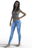 rappresentazione 3D della donna in blue jeans Royalty Illustrazione gratis