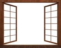 rappresentazione 3d della finestra di legno aperta su un fondo bianco Immagini Stock