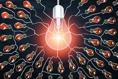 rappresentazione 3d della lampadina al neon di luce rossa sul fondo digitale delle lampadine royalty illustrazione gratis