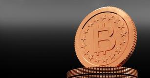 rappresentazione 3D della moneta Bitcoin Immagini Stock Libere da Diritti