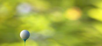 rappresentazione 3d della palla da golf sul T sopra un verde vago Fotografia Stock Libera da Diritti