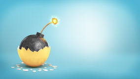rappresentazione 3d della palla grande del ferro con un fusibile acceso rivelatrice dentro un guscio d'uovo dorato rotto Fotografie Stock Libere da Diritti