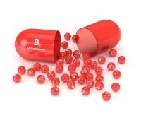 rappresentazione 3d della pillola della vitamina B2 Fotografie Stock Libere da Diritti