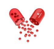 rappresentazione 3d della pillola della vitamina B2 con i granelli Fotografia Stock Libera da Diritti