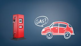 rappresentazione 3d della pompa di gas rossa vicino ad un disegno di retro automobile rossa con un gas di parola dentro un fumett Immagine Stock